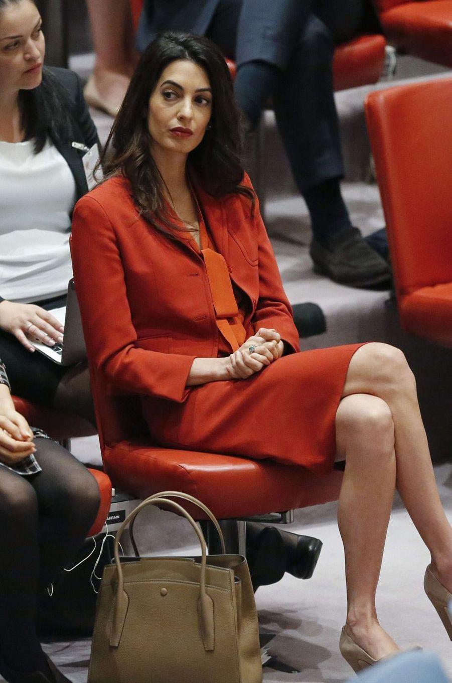 Amal Clooney au premier range du Conseil de sécurité de l'ONU.