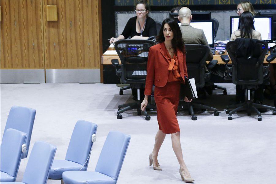 Amal Clooney au Conseil de sécurité de l'ONU à New York.