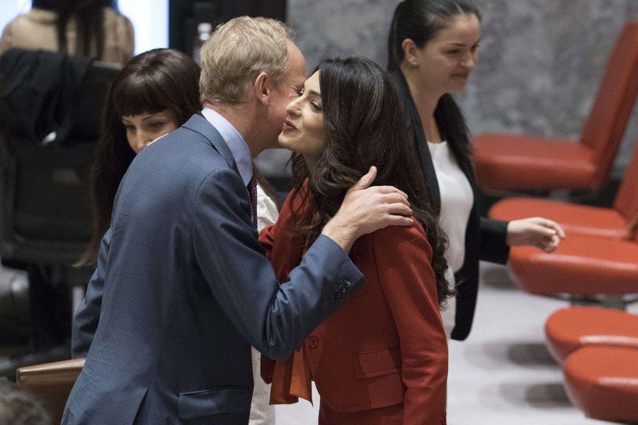Amal Clooney et Matthew Rycroft, représentant du Royaume-Uni à l'ONU.