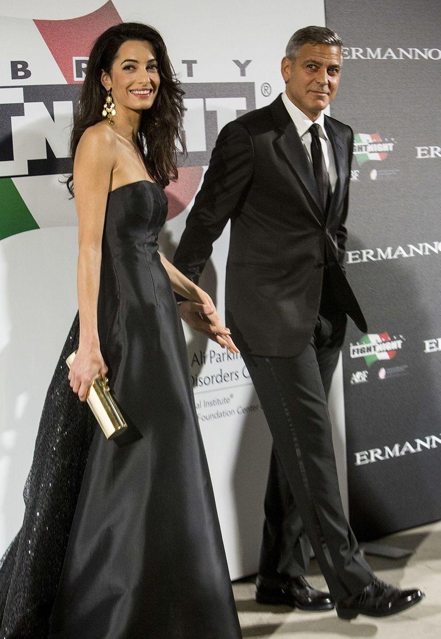 Amal et George Clooney lors de leur première sortie officielle en septembre 2014 à Florence, quelques jours avant leur mariage