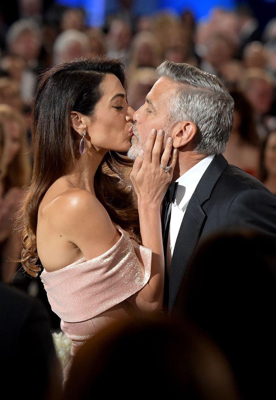 Amal et George Clooney lors d'une soiréechapeautée par le American Film Institute (AFI) pour honorer la carrière de l'acteurà Los Angeles en juin 2018