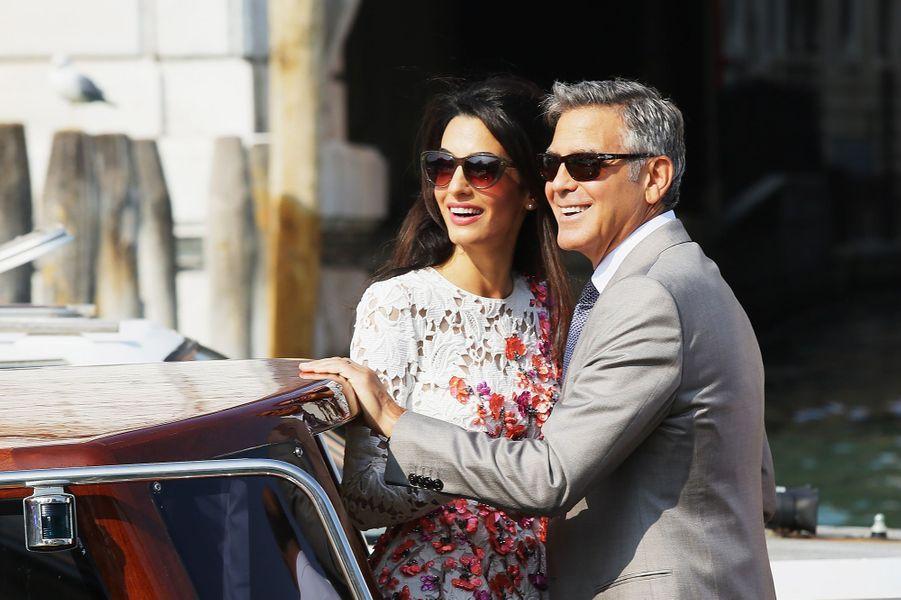 Amal et George Clooney au lendemain de leur mariage à Venise le 28 septembre 2014