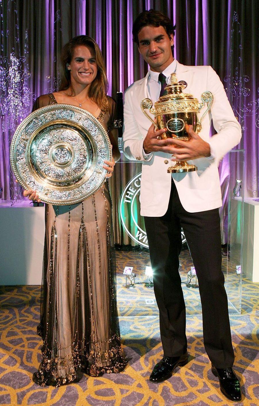 Roger Federer et Amélie Mauresmo à Londres, le 9 juillet 2006