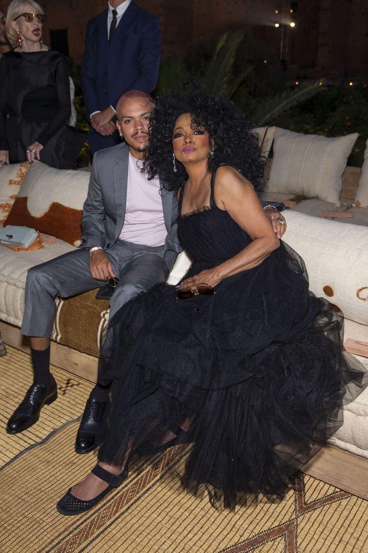 Diana Ross et son fils Evanau défilé Croisière Dior au Palais El Badi à Marrakech, le 29 avril 2019
