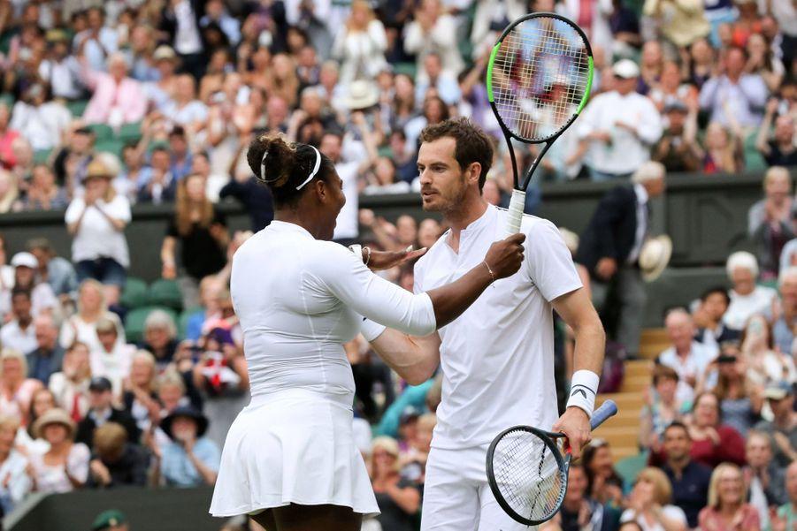 Serena Williams et Andy Murray à Wimbledon le 9 juillet 2019