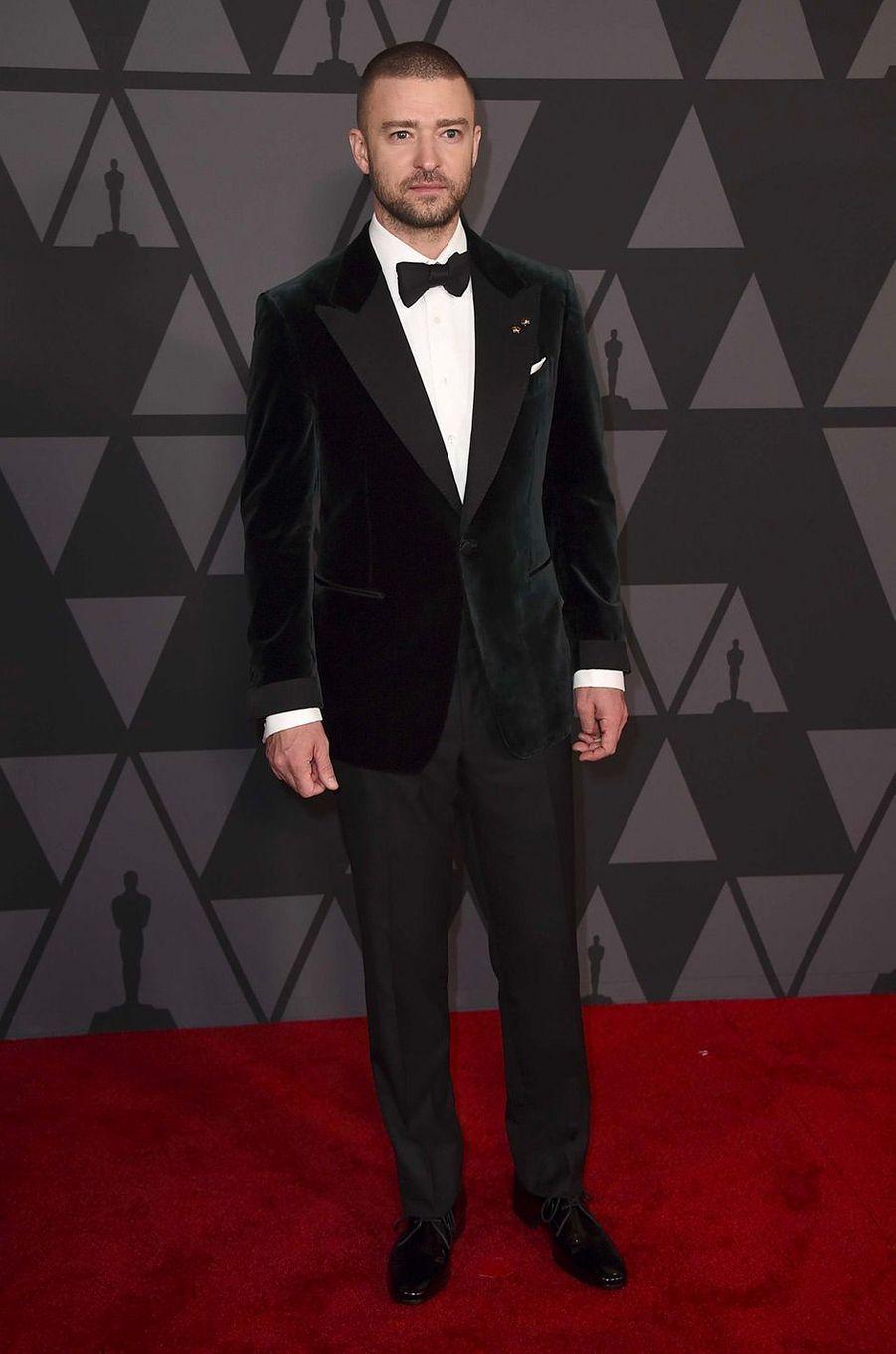 Justin Timberlake aux Governors Awards à Los Angeles, samedi 11 novembre