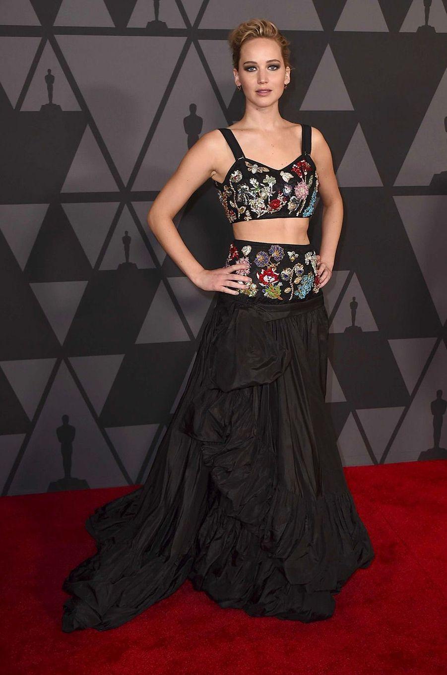 Jennifer Lawrence aux Governors Awards à Los Angeles, samedi 11 novembre