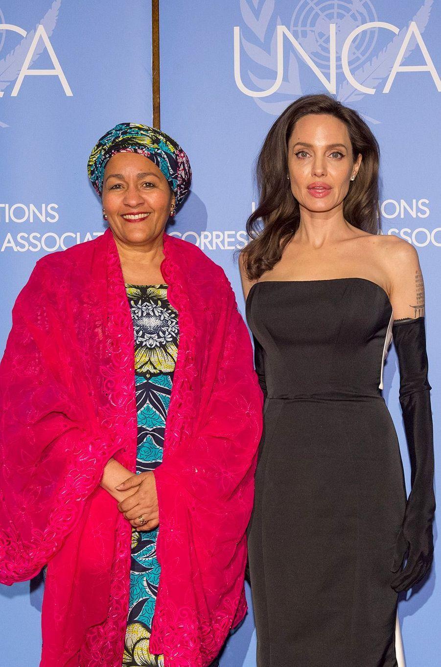Angelina Jolie avec la vice-secrétaire générale des Nations Unies, Amina Mohammed (femme politique nigériane)