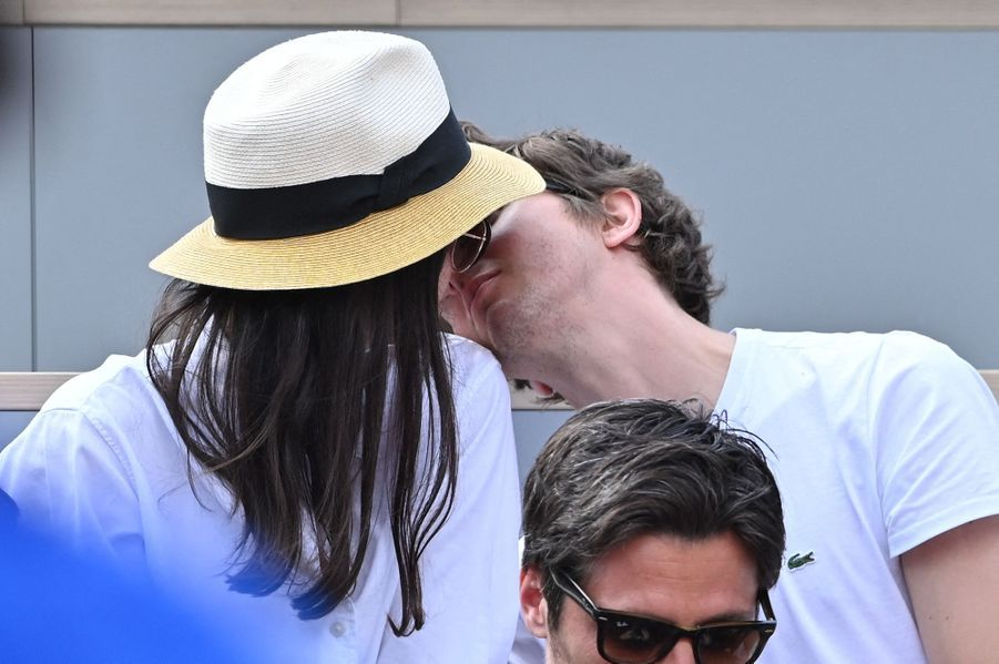 Lucie Boujenah et Thomas Solivérèsà Roland-Garros le 3 juin 2019