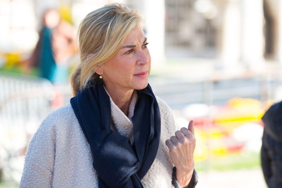 Michèle Laroque aux obsèques de Philippe Gildas au Père Lachaise, à Paris, lundi 5 novembre