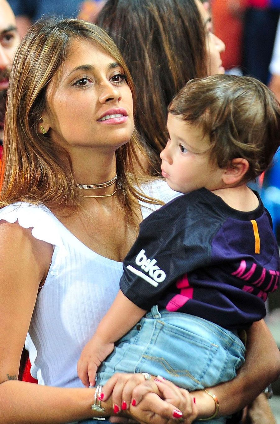 Antonella Roccuzzo avec son fils en 2017