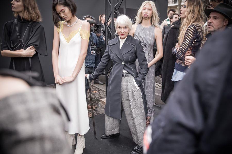 Helen Mirren prête à défiler.