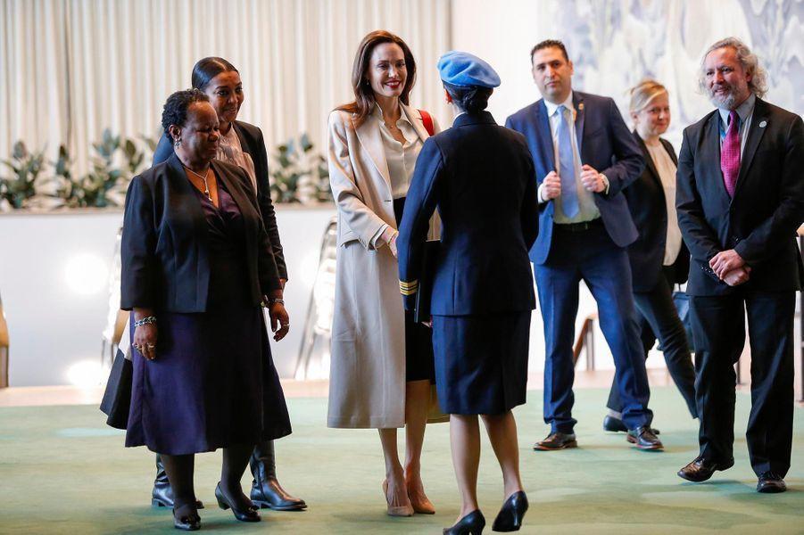 Angelina Jolie a pris la parole àl'Assemblée générale des Nations unies, le 29 mars 2019.