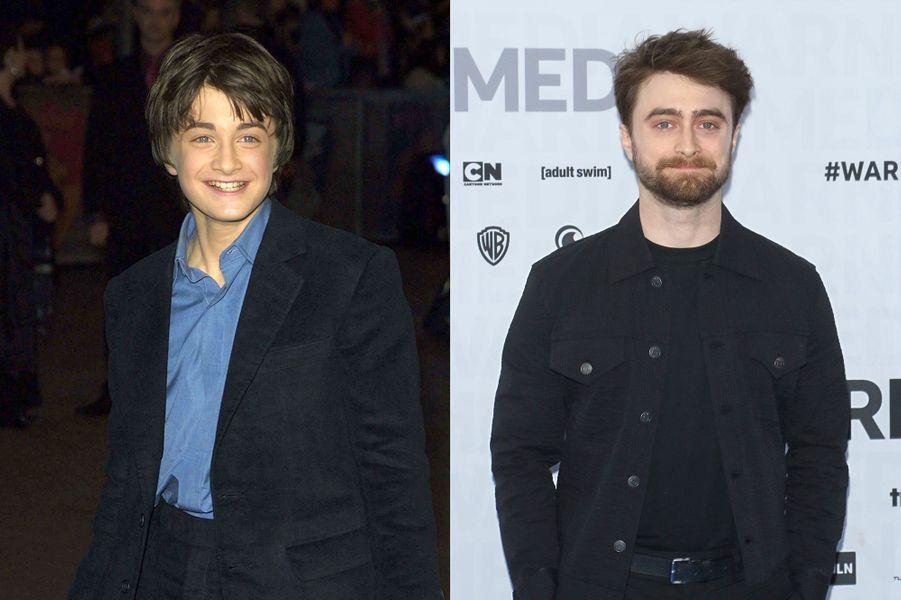 Daniel Radcliffe en 2001 et 2019
