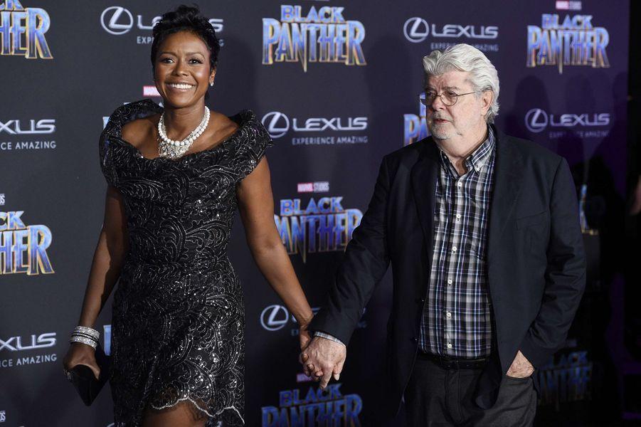 """George Lucas et son épouse à l'avant-première de """"Black Panther"""" à Los Angeles, le 29 janvier 2018."""