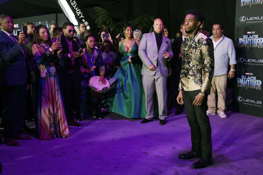 """Chadwick Boseman à l'avant-première de """"Black Panther"""" à Los Angeles, le 29 janvier 2018."""
