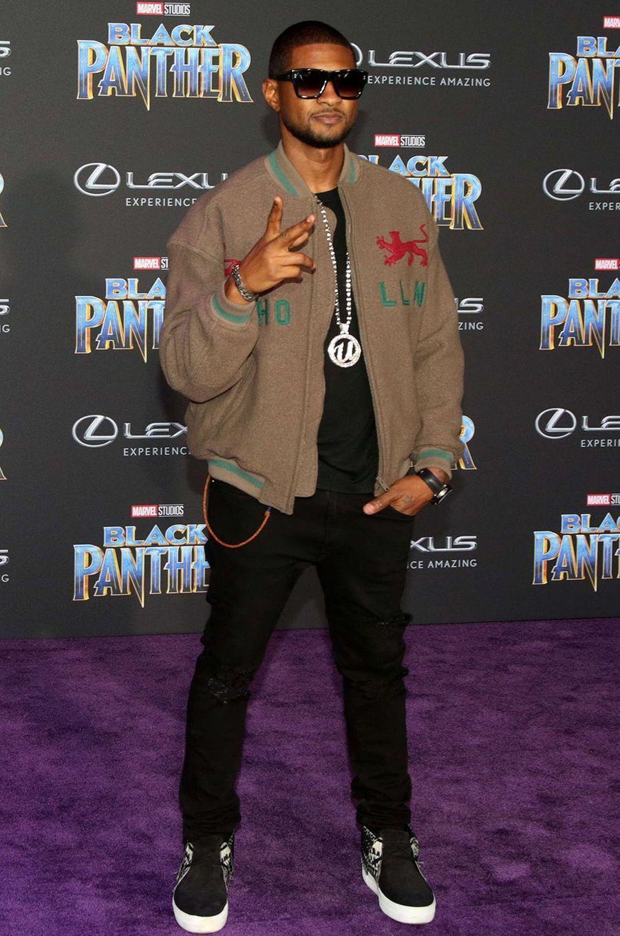 """Usher à l'avant-première de """"Black Panther"""" à Los Angeles, le 29 janvier 2018."""