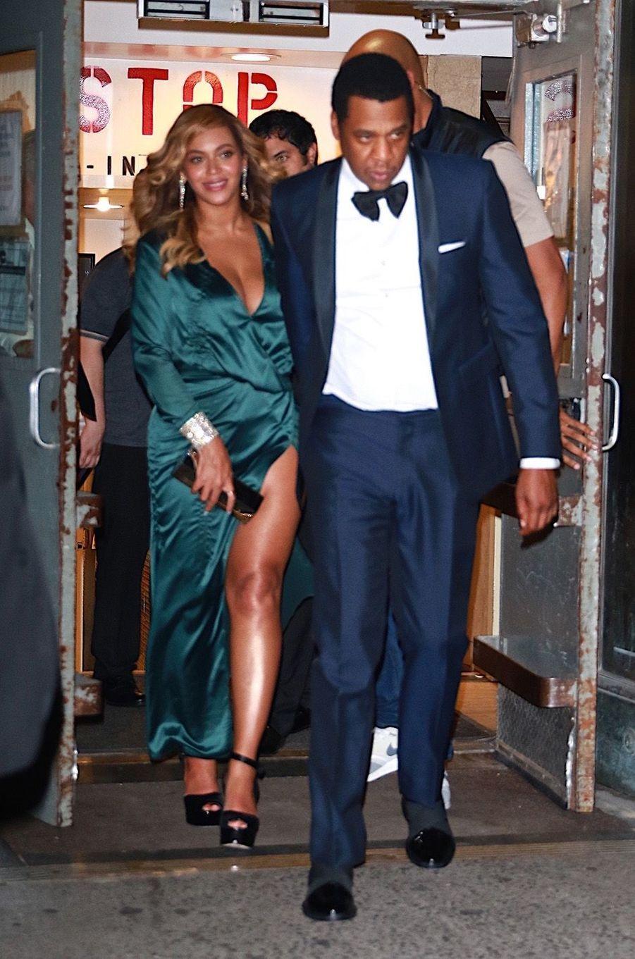 Beyoncé Knowles et Jay Z à la sortie du Diamond Ball à New York, le 14 septembre 2017.