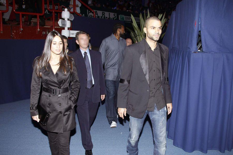 Axelle et Tony Parker lors de la finaledesMasters de Paris-Bercy en novembre 2011. Leur première apparition publique.
