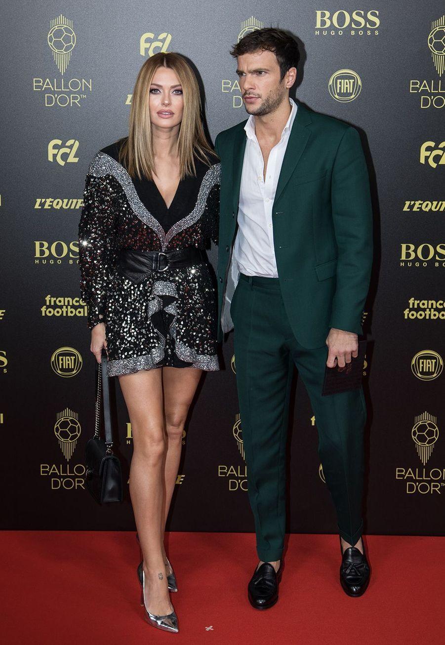 Caroline Receveur et Hugo Philipà la cérémonie du Ballon d'Or 2019 à Paris le 2 décembre 2019