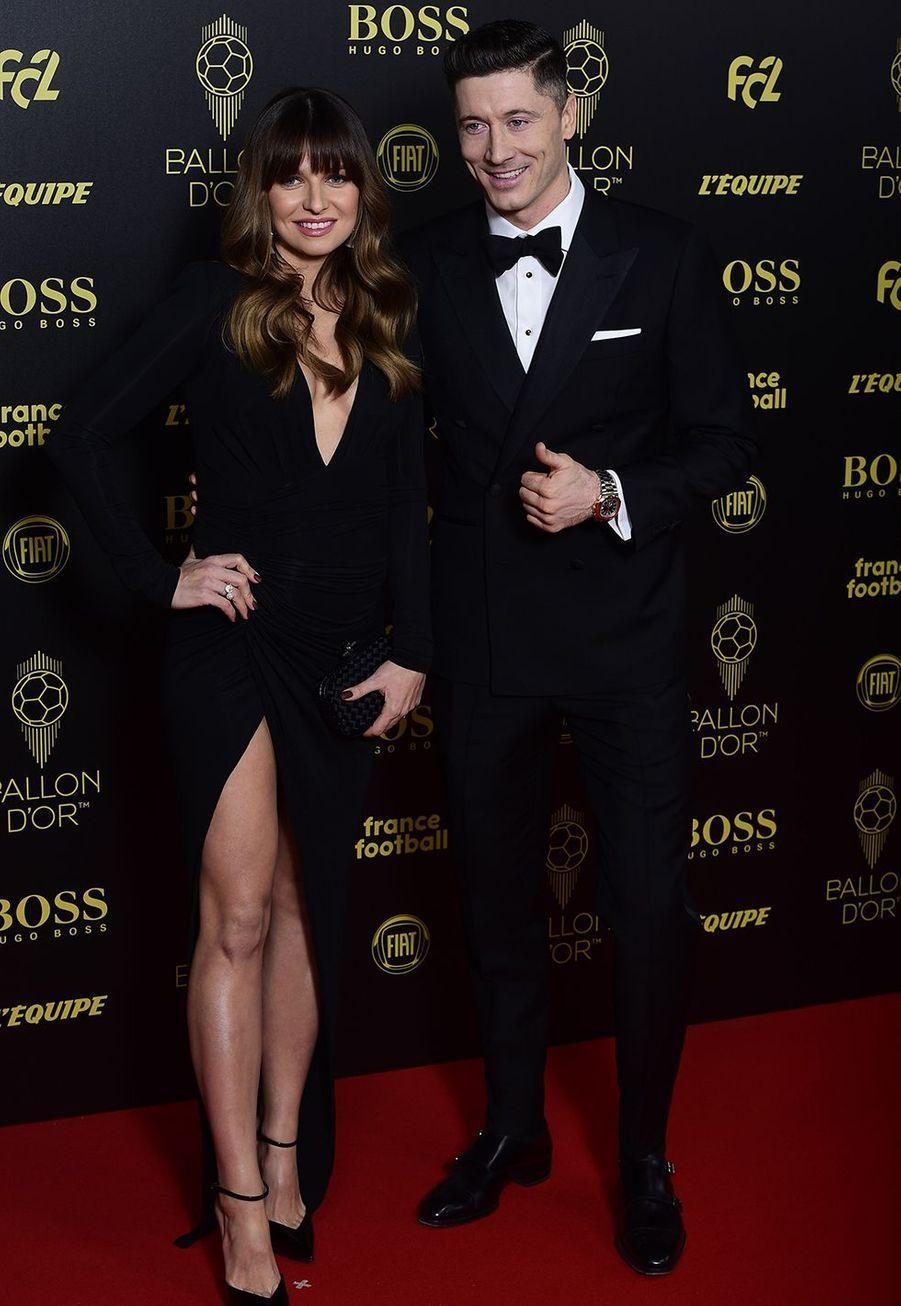 Robert Lewandowski et sa femme Anna Stachurskaà la cérémonie du Ballon d'Or 2019 à Paris le 2 décembre 2019