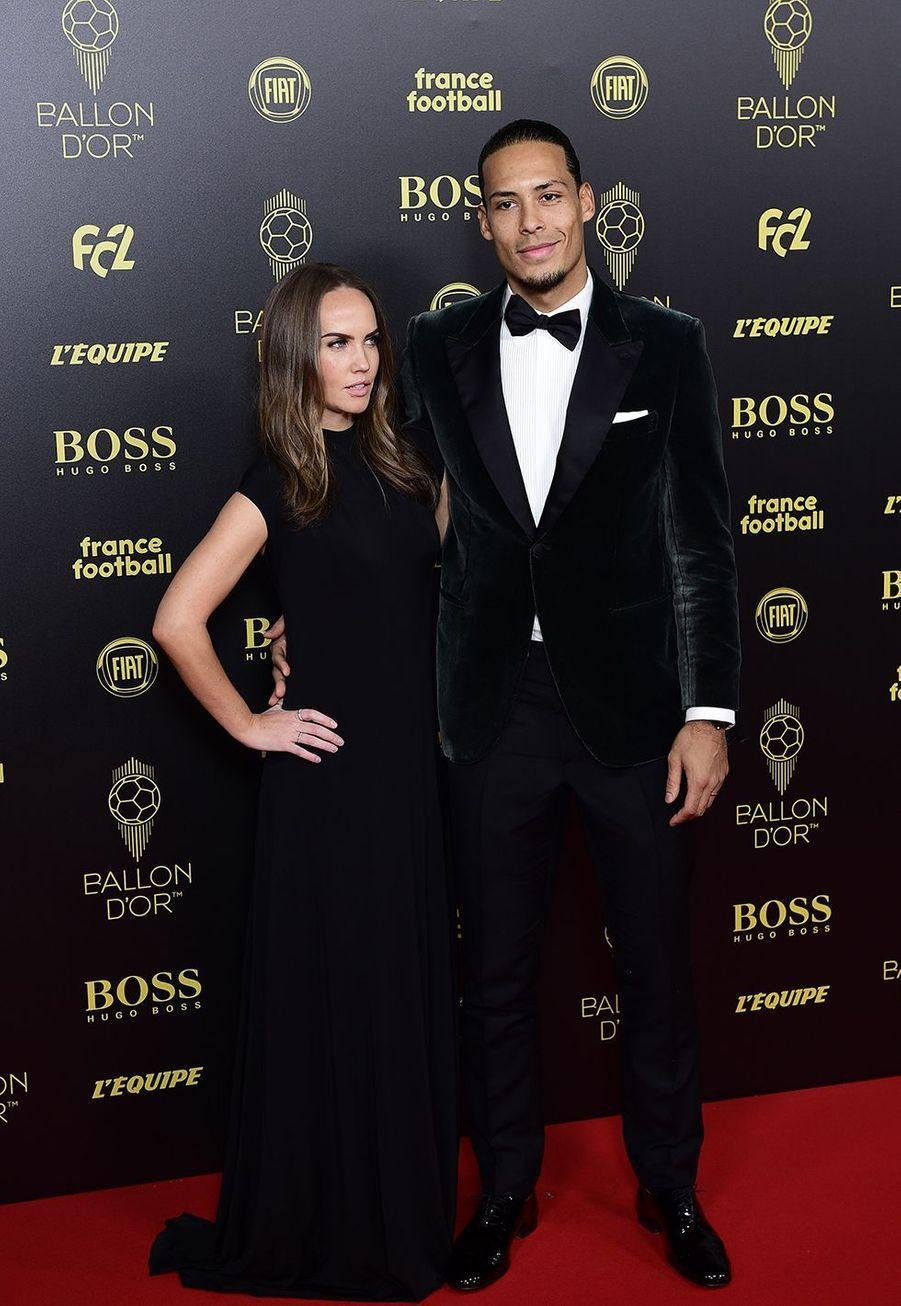 Virgil Van Dijk et sa femme Rike Nooitgedagtà la cérémonie du Ballon d'Or 2019 à Paris le 2 décembre 2019