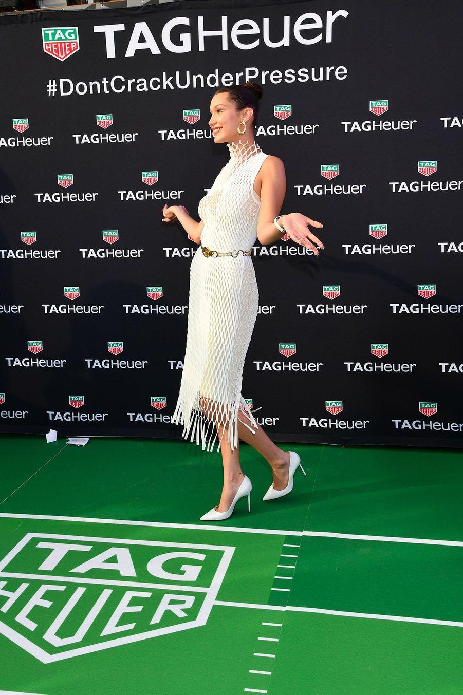 Bella Hadid à la soirée Tag Heuer, lors du Grand Prix de Monaco.
