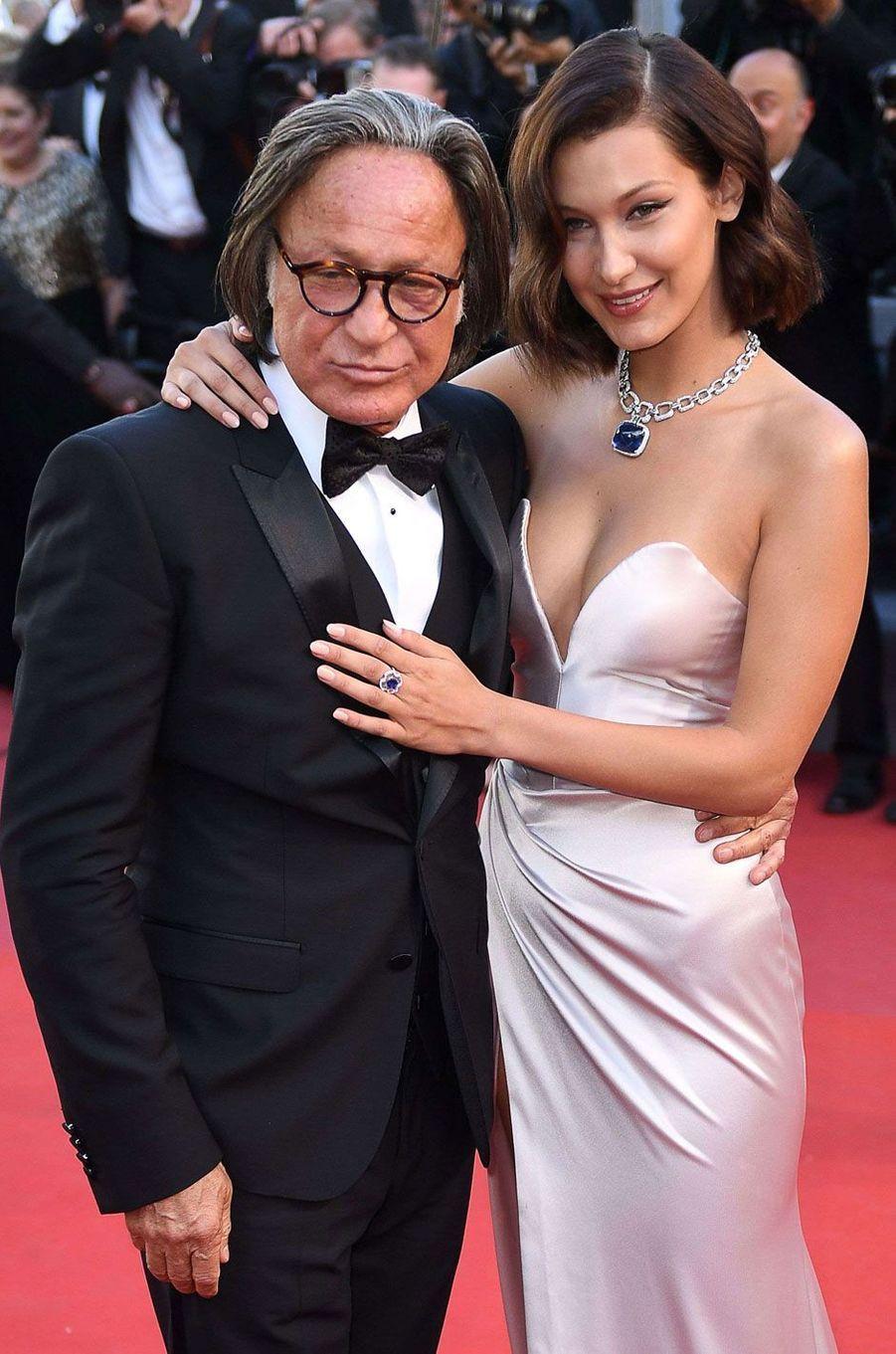 Bella Hadid et son père au Festival de Cannes 2017.
