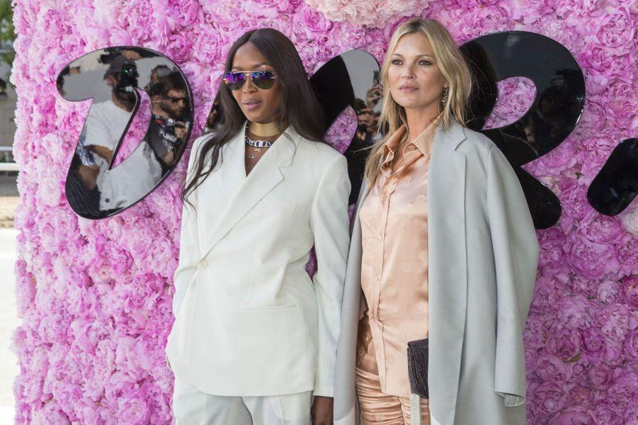 Kate Moss et Naomi Campbell au défilé Dior Homme, à Paris le 23 juin 2018