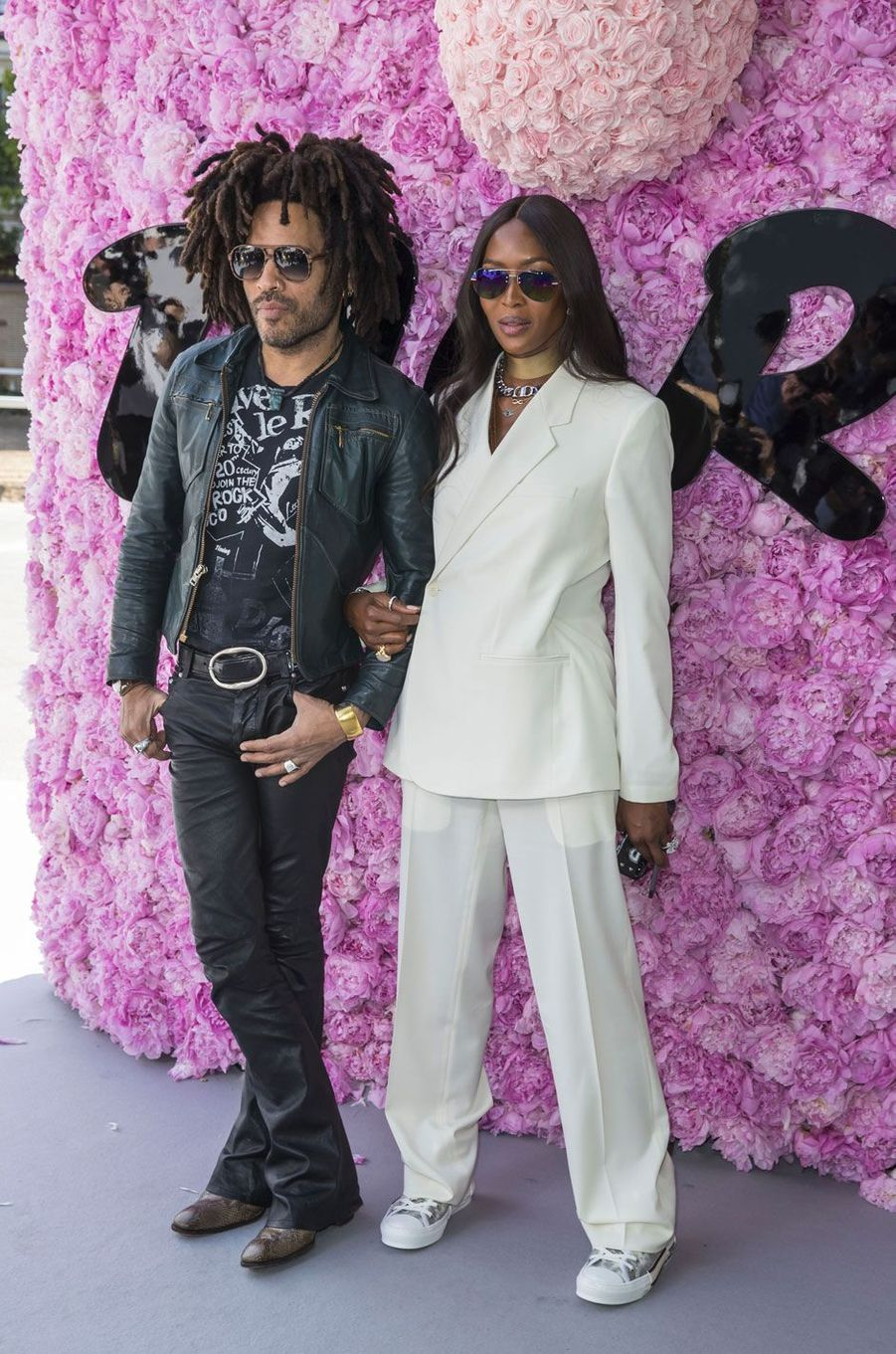Lenny Kravitz et Naomi Campbell au défilé Dior Homme, à Paris le 23 juin 2018