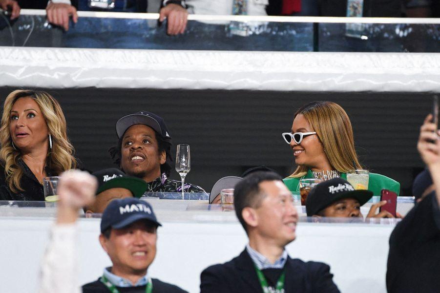Jay-Z et Beyoncé lors du Super Bowl à Miami le 2 février 2020