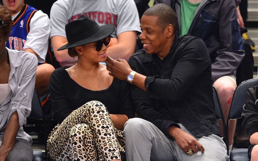 Beyoncé et Jay-Z lors d'un match au Madison Square Garden à New York en 2012