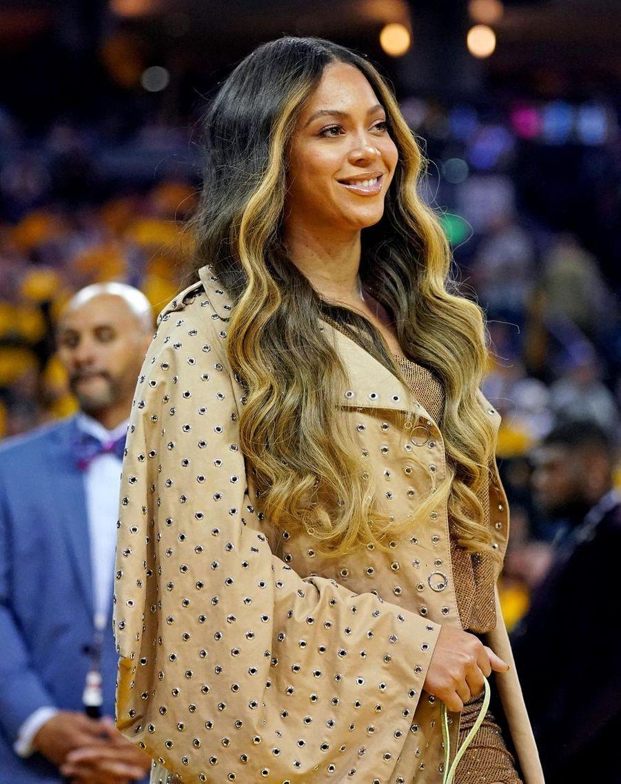 Beyoncé lors d'un match opposant lesGolden State Warriors aux Toronto Raptors le 5 juin 2019 à Oakland