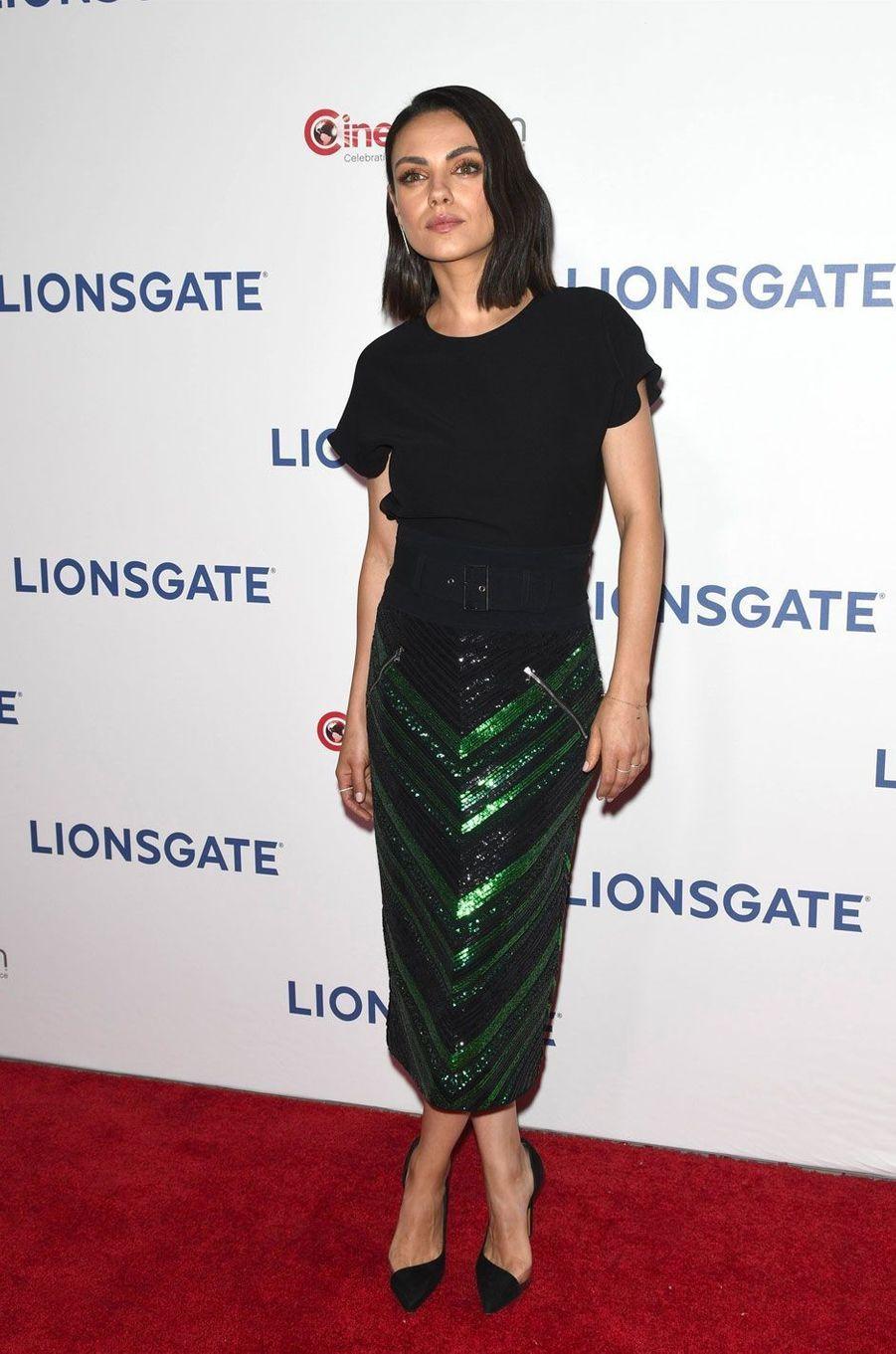 Mila Kunis à la soirée Lionsgate CinemaCon 2018 au Caesars Palace à Las Vegas, le 26 avril 2018