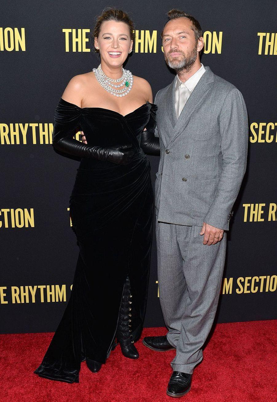 Blake Lively et Jude Lawà l'avant-première du film «The Rhythm Section» à New York le 27 janvier 2020