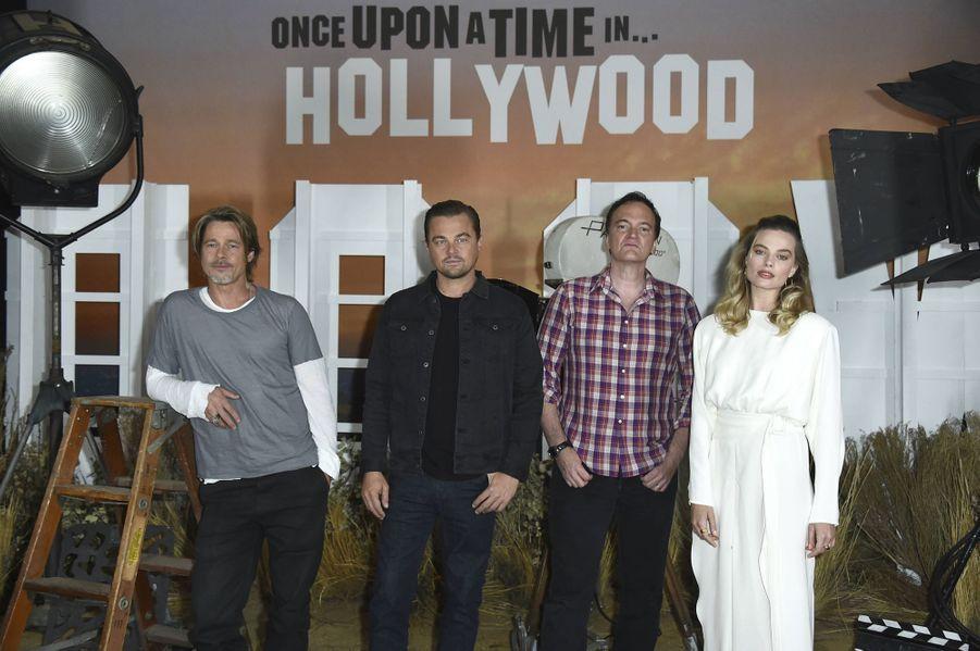 Brad Pitt, Leonardo DiCaprio, Quentin Tarantino et Margot Robbie à Los Angeles le 11 juillet 2019