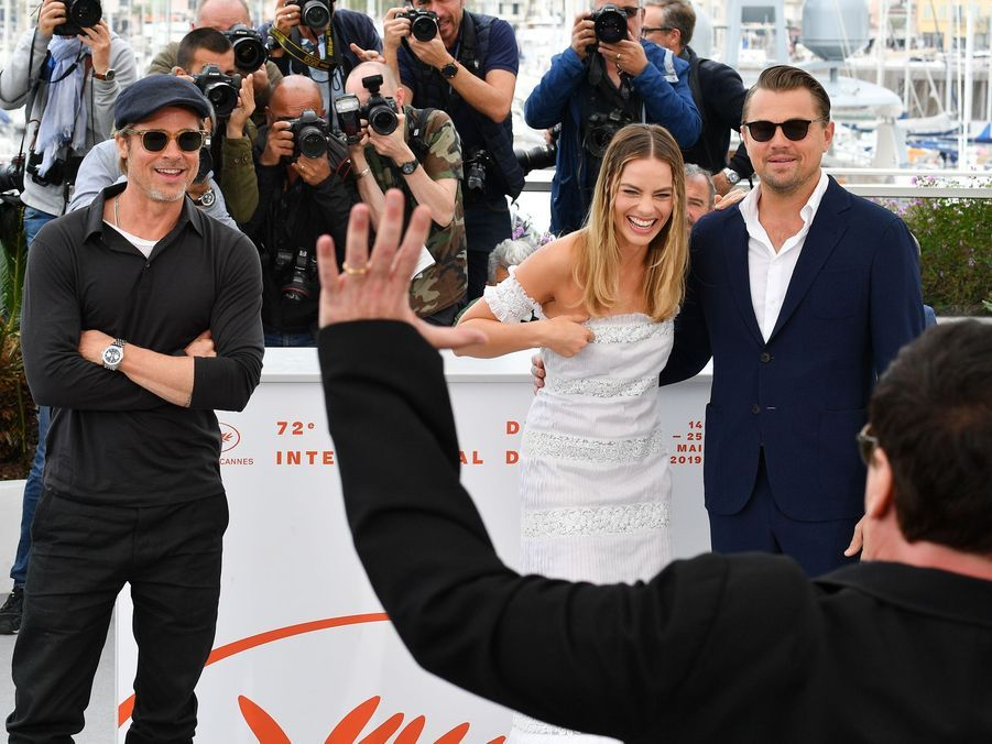 Brad Pitt, Quentin Tarantino, Margot Robbie et Leonardo DiCaprio au photocall du film «Once Upon A Time In Hollywood» à Cannes le 22 mai 2019