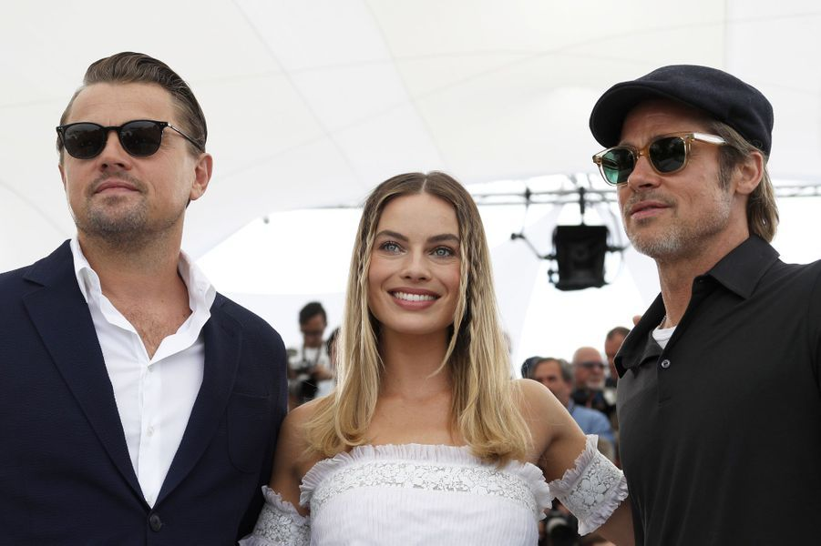 Leonardo DiCaprio, Margot Robbie et Brad Pitt au photocall du film «Once Upon A Time In Hollywood» à Cannes le 22 mai 2019