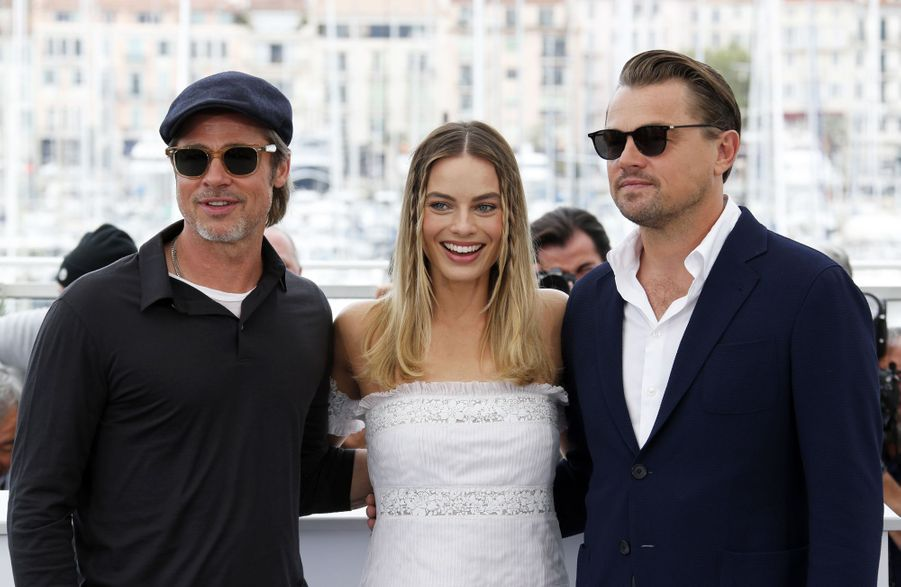 Brad Pitt, Margot Robbie et Leonardo DiCaprio au photocall du film «Once Upon A Time In Hollywood» à Cannes le 22 mai 2019