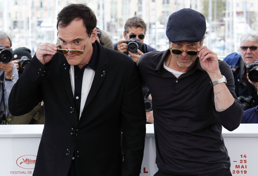 Quentin Tarantino et Brad Pitt au photocall du film «Once Upon A Time In Hollywood» à Cannes le 22 mai 2019