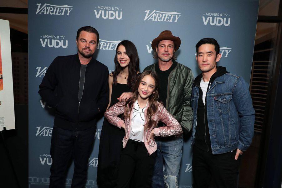 Leonardo DiCaprio, Margaret Qualley, Brad Pitt, Mike Moh et Julia Butterslors d'un panel Q&A autour du film «Once Upon A Time In Hollywood» à Los Angeles le 17 décembre 2019