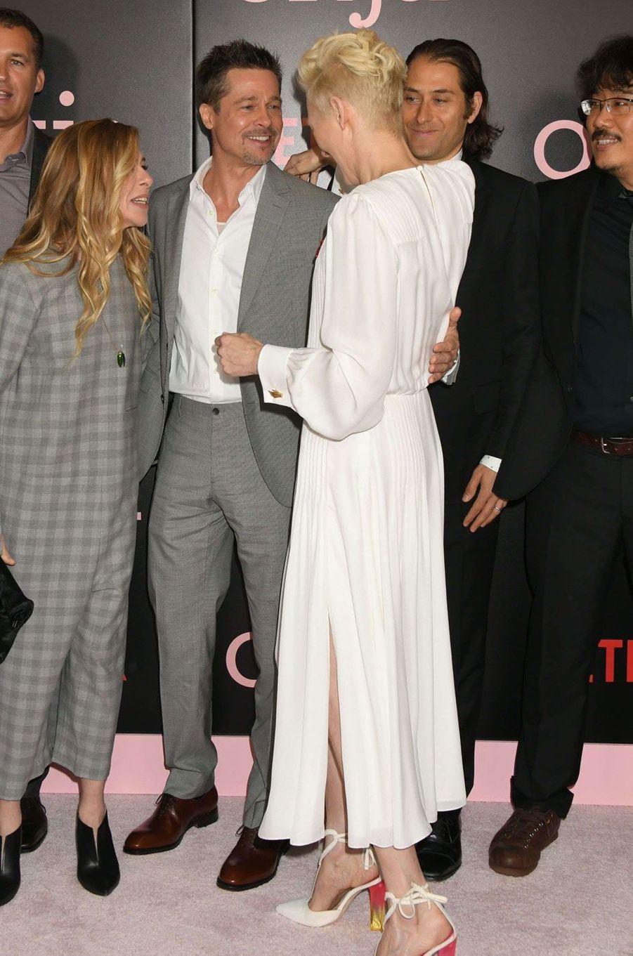 L'acteur Brad Pitt et Tilda Swinton.