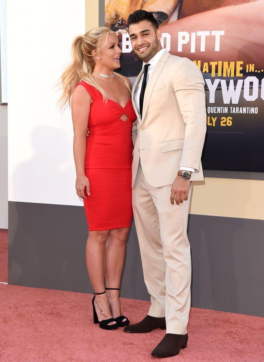 Britney Spears et son compagnon Sam Asghari lors de la première de«Once Upon A Time In Hollywood», le 22 juillet 2019 à Los Angeles.