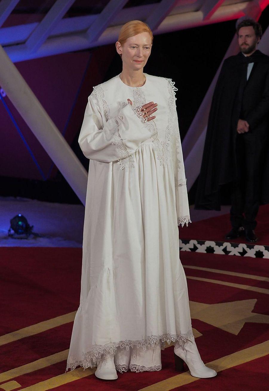 Tilda Swinton se rend à l'hommage au cinéma Australienlors Marrakech International Film Festival jeudi 5 décembre 2019.