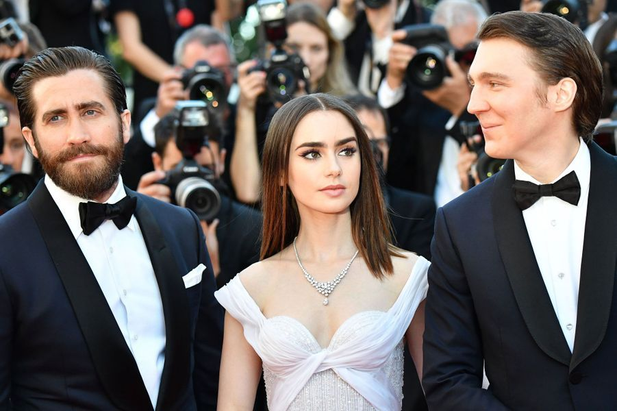 Jake Gyllenhaal, Lily Collins et Paul Dano à Cannes.
