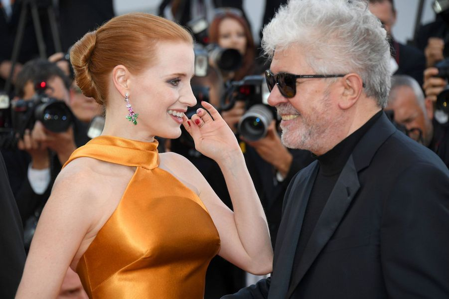 Jessica Chastain et Pedro Almodovar à Cannes