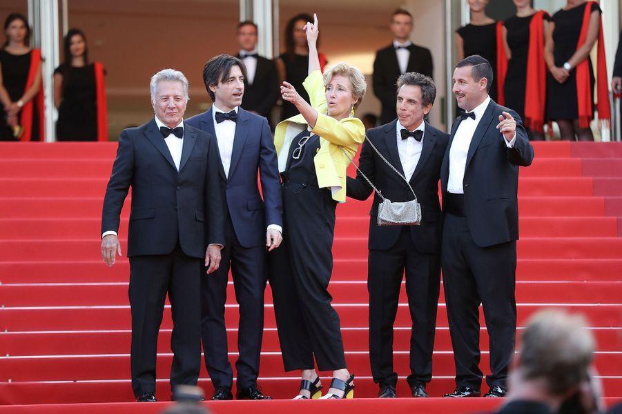 Dustin Hoffman, NoahBaumbach, Emma Thompson, Ben Stiller et Adam Sandler à Cannes, le 21 mai 2017.