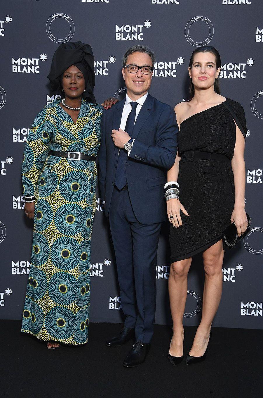 Charlotte Casiraghi avec Khadja Nin et Nicolas Baretzki à la soirée Montblanc à Cannes, le 16 mai 2018.