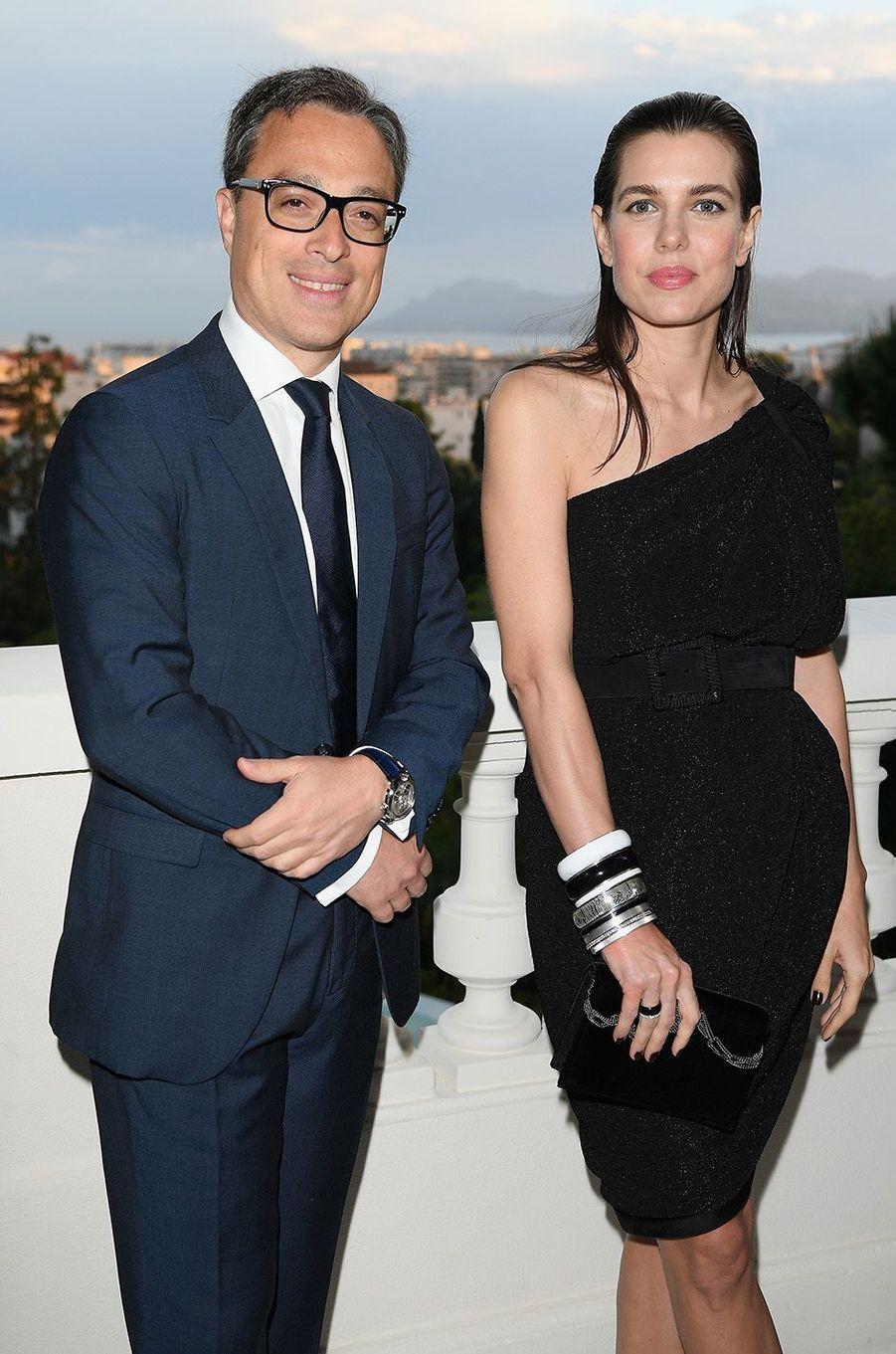 Charlotte Casiraghi avec Nicolas Baretzki à la soirée Montblanc à Cannes, le 16 mai 2018.