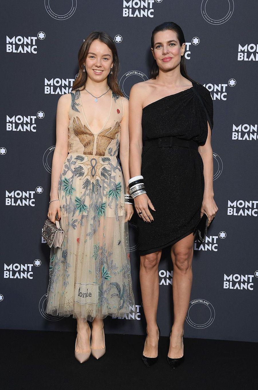 Charlotte Casiraghi avec Alexandra de Hanovre à la soirée Montblanc à Cannes, le 16 mai 2018.
